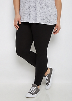Plus Black Wide Waist Soft Knit Legging