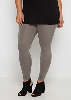 Plus Gray Soft Brushed High Waist Legging