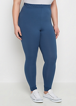 Plus Blue Soft Brushed High Waist Legging