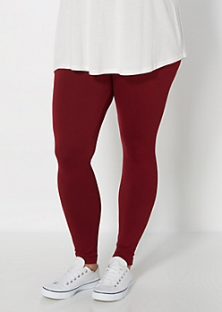 Plus Burgundy Soft Brushed High Waist Legging