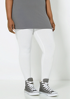 Plus White Essential Knit Legging