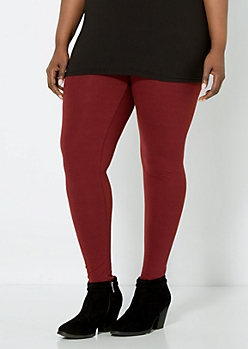 Plus Burgundy Essential Knit Legging