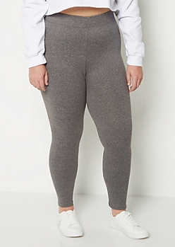 Plus Gray High Waist Soft Knit Legging