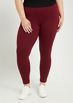 Plus Burgundy High Waist Soft Knit Legging
