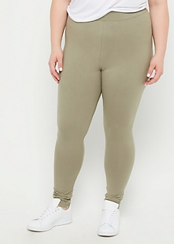 Plus Olive High Waist Soft Knit Legging