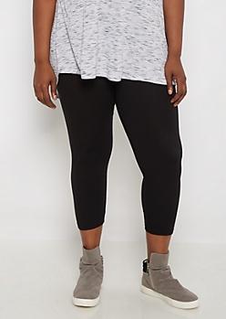 Plus Black Cropped Legging