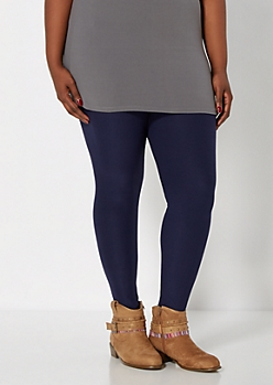 Plus Navy Brushed High Waisted Legging