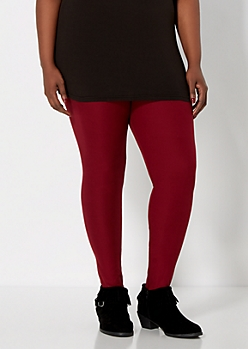 Plus Burgundy Brushed High Waisted Legging