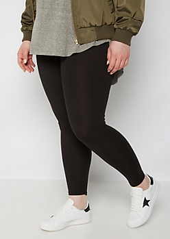 Plus Black Soft Wide Band Legging