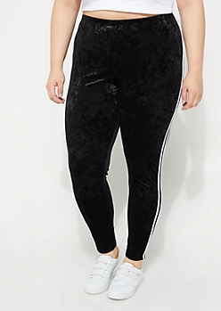 Plus Black Crushed Velvet Varsity Legging
