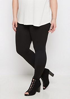Plus Black French Terry Lined Legging