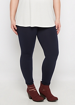 Plus Navy French Terry Lined Legging