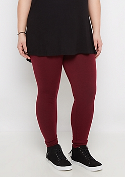 Plus Burgundy French Terry Lined Legging