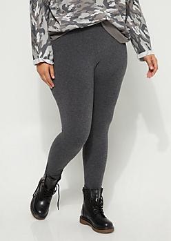 Plus Charcoal Gray Fleece Slimming Legging