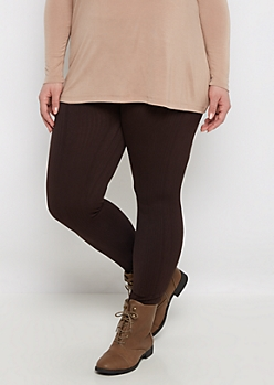 Plus Brown Cable Knit Fleece Legging