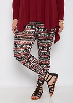 Plus Tribal Fair Isle Striped Fleece Legging