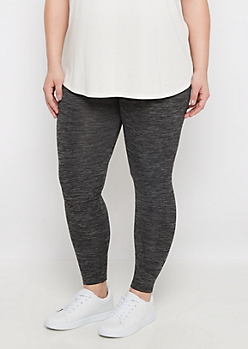 Plus Charcoal Marled Fleece Legging