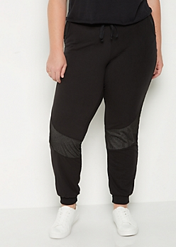 Plus Black Mesh Stripe Jogger