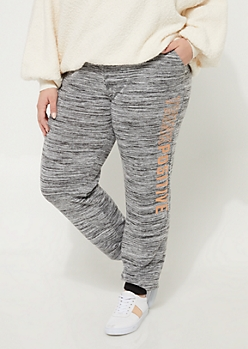 Plus Heather Gray Think Positive Hacci Knit Joggers