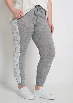 Plus Gray Lace Inset Brushed Jogger