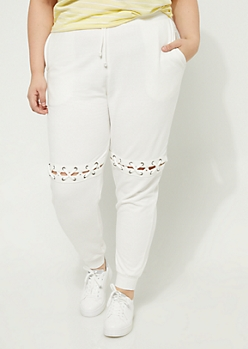 Plus Ivory Lace Up Knee Cutout Joggers
