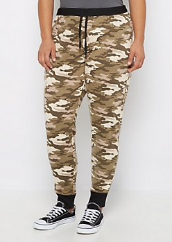 Plus Camo Ribbed Cuff Slim Jogger