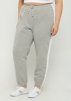 Plus Gray Striped Fleece Boyfriend Jogger