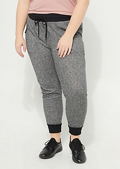 Plus Black Classic Marled Knit Jogger