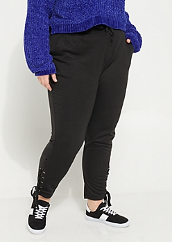 Plus Black Lace Up Knit Joggers