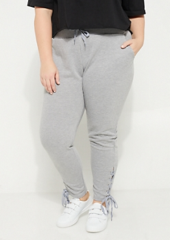 Plus Gray Lace Up Knit Joggers