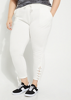 Plus White Laced Up Knit Jogger
