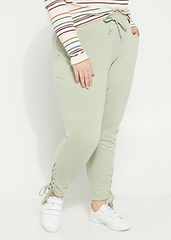Plus Light Green Lace Up Knit Joggers