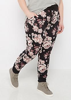 Plus Pink Rose Soft Knit Jogger