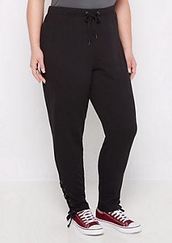 Plus Black Lace Ankle Slim Jogger