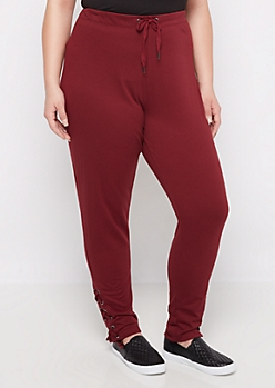 Plus Burgundy Lace Ankle Slim Jogger