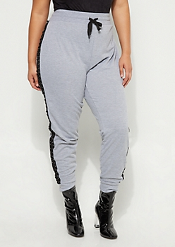 Plus Heather Gray Lace Up Seam Joggers