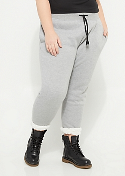 Plus Heather Gray Sherpa Lined Joggers
