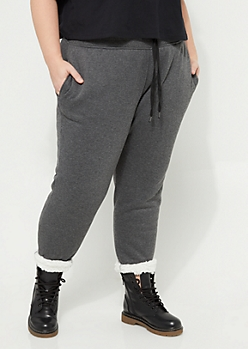Plus Charcoal Gray Sherpa Lined Joggers