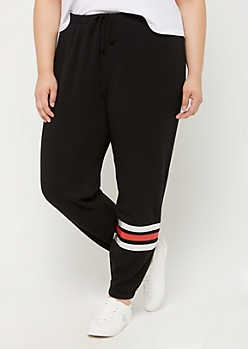 Plus Black Striped Ankle Boyfriend Jogger