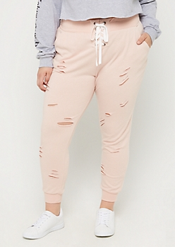 Plus Pink Lace Up Distressed Jogger