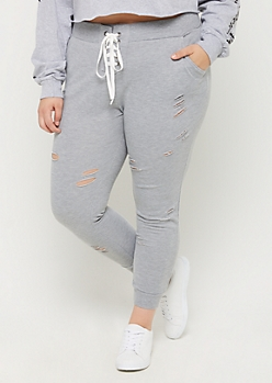 Plus Gray Lace Up Distressed Joggers
