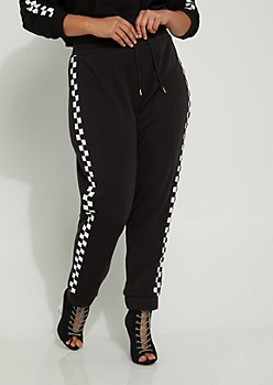 Plus Checkered High Rise Jogger