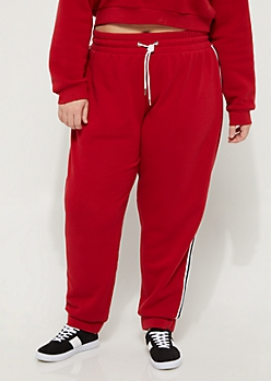 Plus Red Striped High Rise Joggers