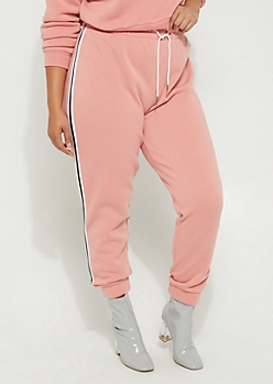 Plus Pink Striped High Rise Joggers