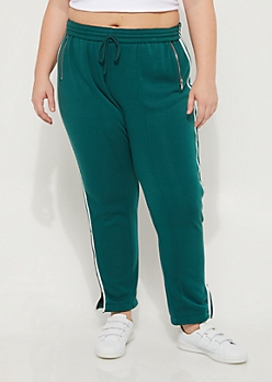 Plus Green Varsity Zip High Rise Joggers