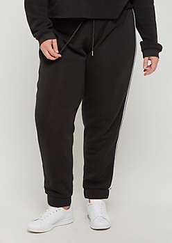 Plus Black Striped High Waist Jogger