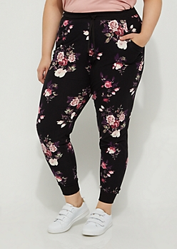 Plus Black Floral Soft Brushed Jogger