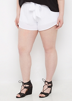 Plus White Tie-Waist Gauze Short