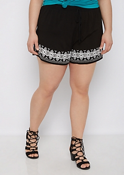 Plus Aztec Embroidered Woven Short
