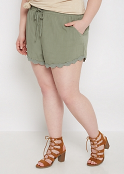 Plus Olive Scalloped Crochet Woven Short